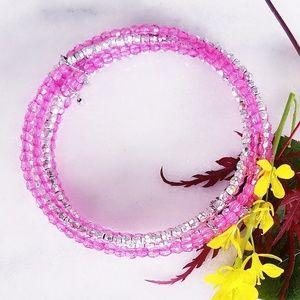 ❤ 4 for $25 ❤ Beaded Pink Silver Bracelets